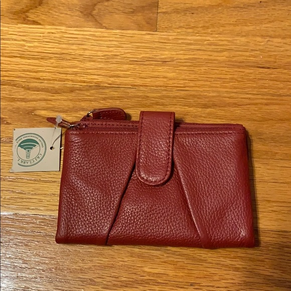 30c4b493b5 C & J Clark Red Leather Wallet NWT